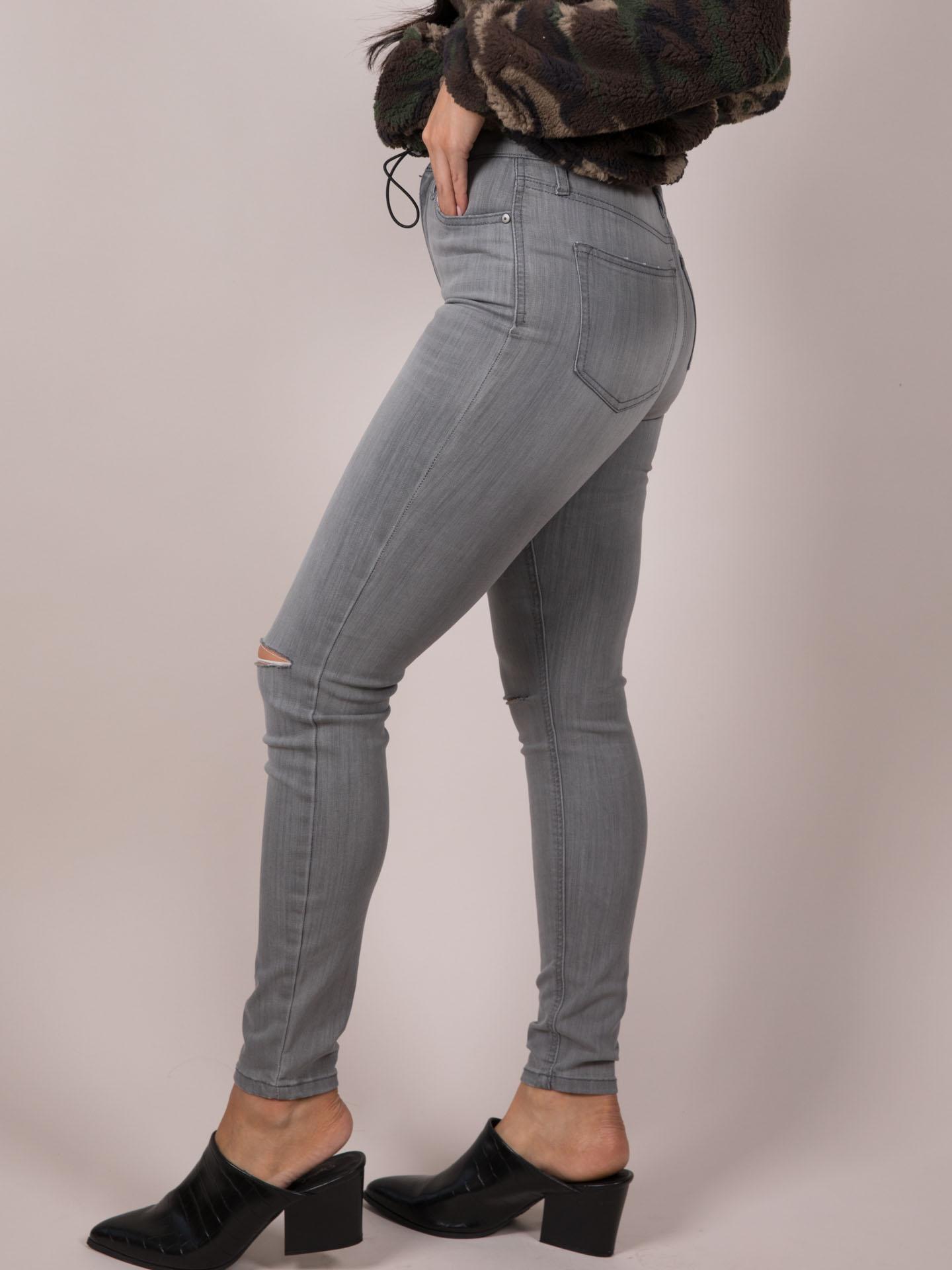 Grey Ripped Skinny Graze Jeans