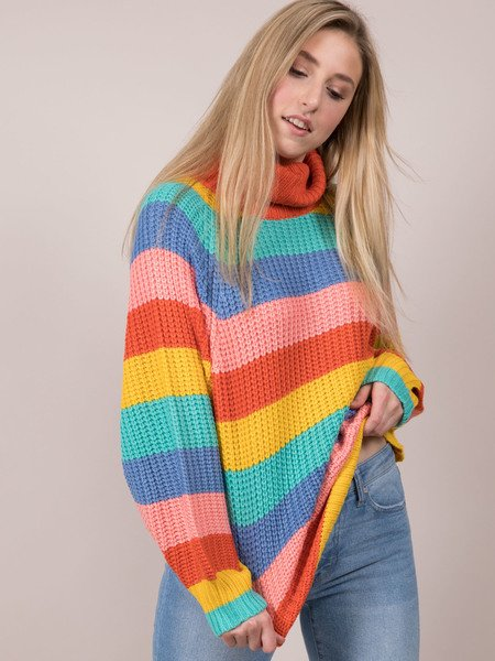 Rainbow Sweater Striped Color Turtleneck Front