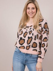 Leopard Fuzzy Sweater Fierce Furry Layer Piece Front