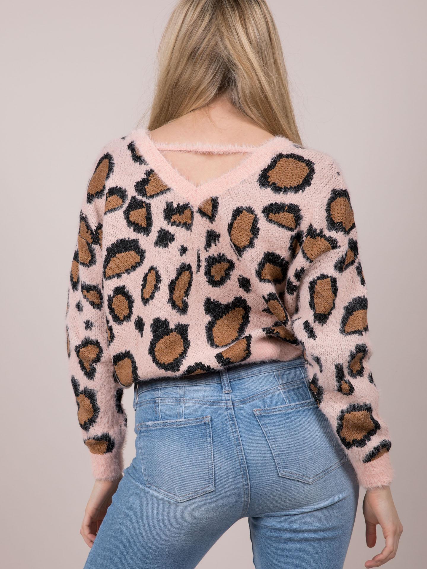 Leopard Fuzzy Sweater Fierce Furry Layer Piece Back