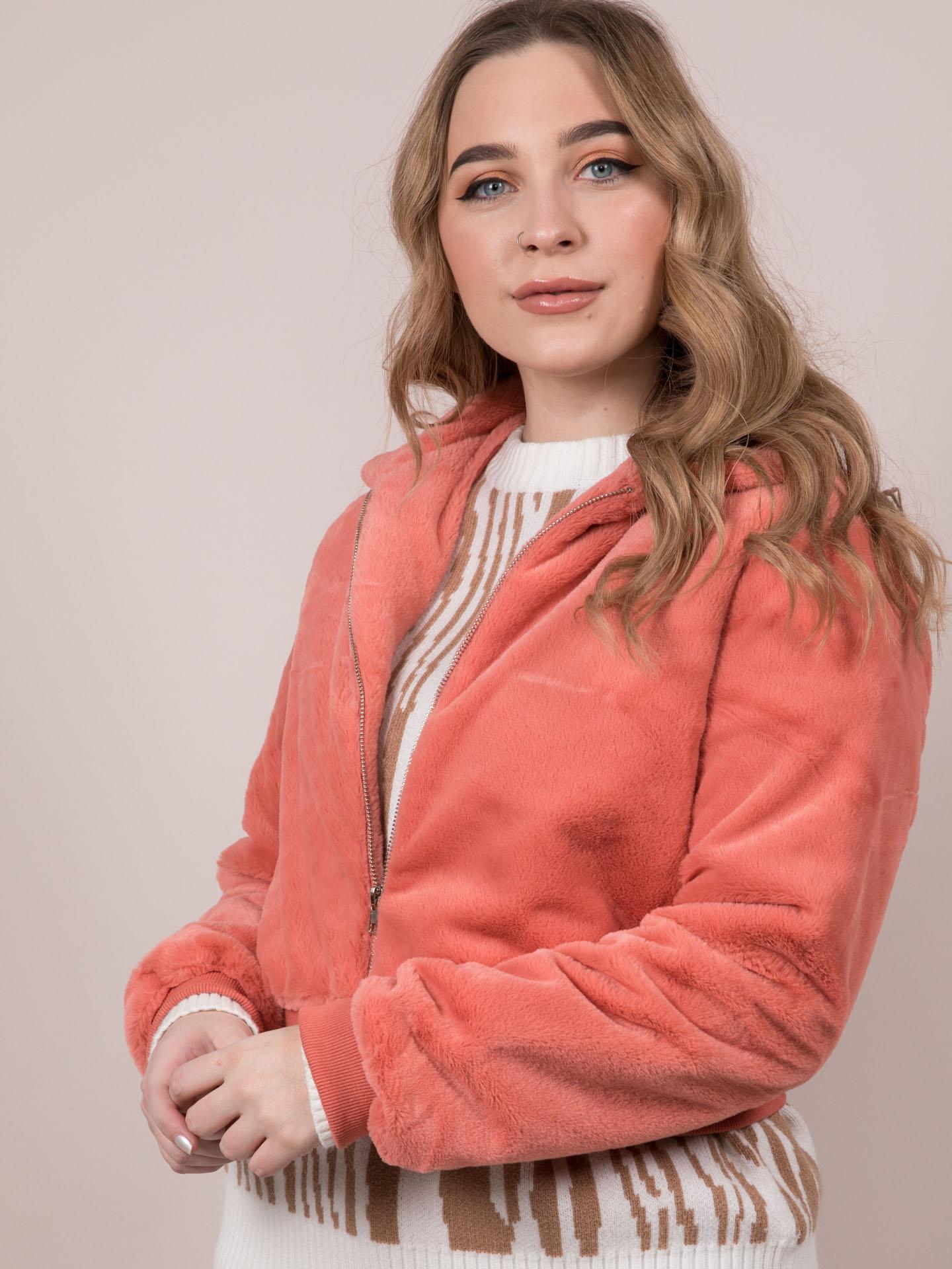Carrie Crop Jacket Soft Furry Zip Up Orange Front