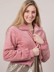 Carrie Crop Jacket Soft Furry Zip Up Mauve