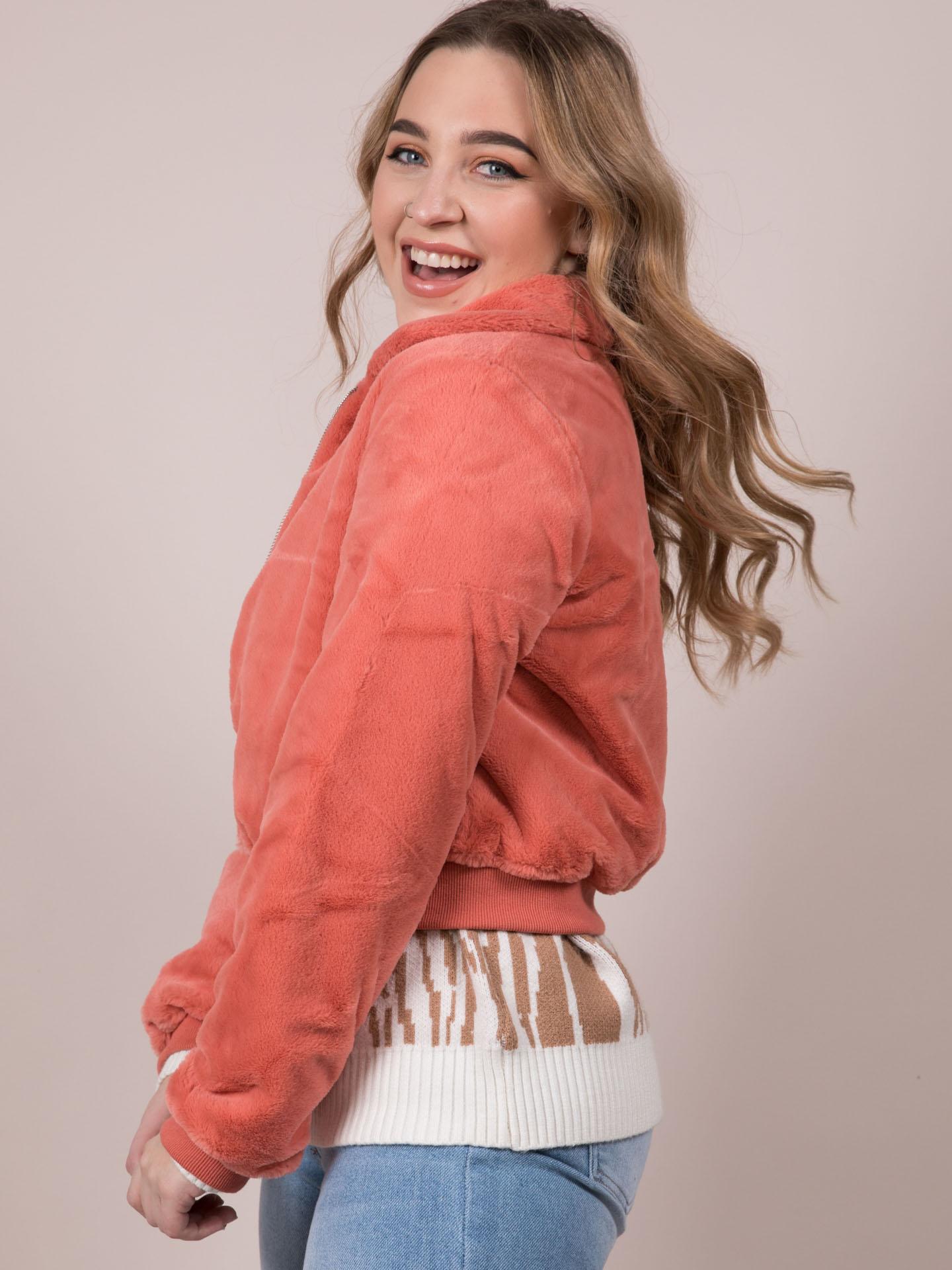 Carrie Crop Jacket Soft Furry Zip Up Orange