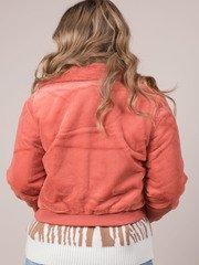 Carrie Crop Jacket Soft Furry Zip Up Orange Back