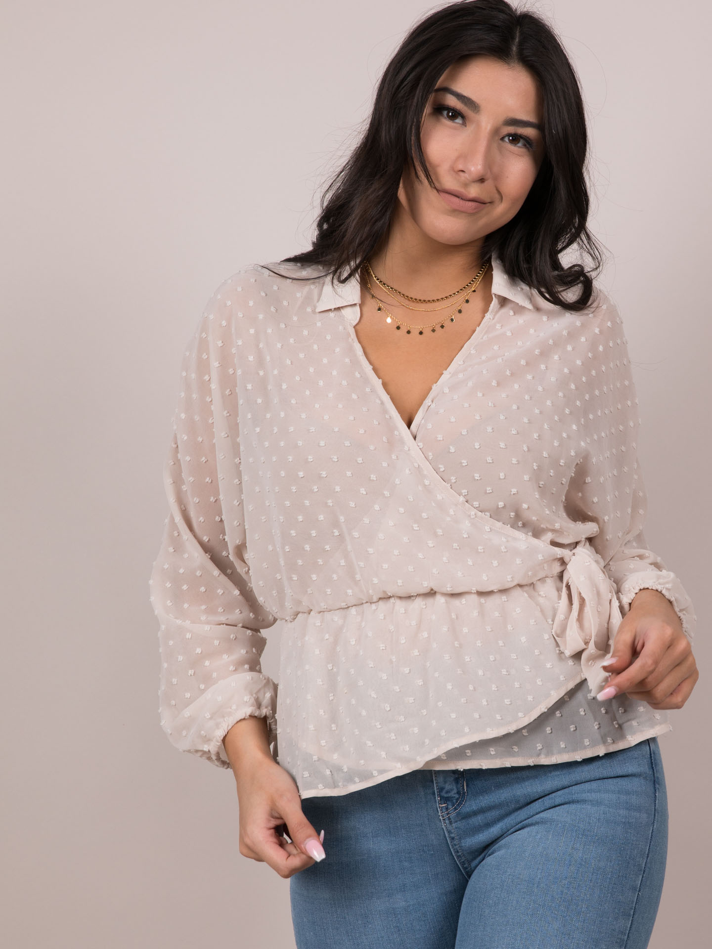 Polka Dot Wrap Blouse Cream Front