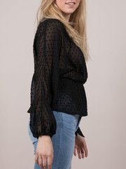 Polka Dot Wrap Blouse Black