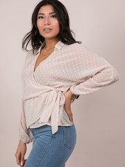 Polka Dot Wrap Blouse Cream Side
