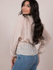 Polka Dot Wrap Blouse Cream