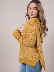 Cynthia Sweater Popcorn Oversized Hoodie Mustar
