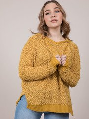 Cynthia Sweater Popcorn Oversized Hoodie Mustard
