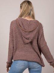 Cynthia Sweater Popcorn Oversized Hoodie Mocha Front