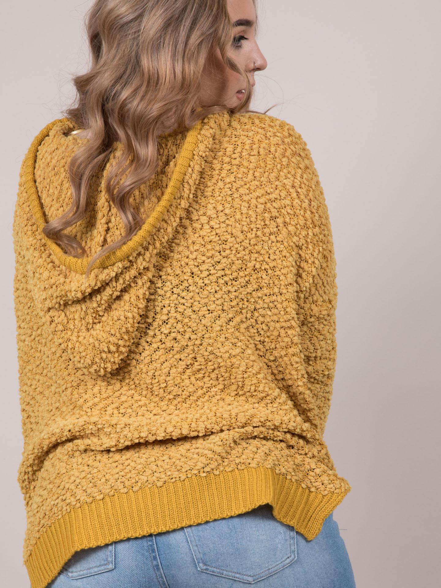 Cynthia Sweater Popcorn Oversized Hoodie Mustard Back