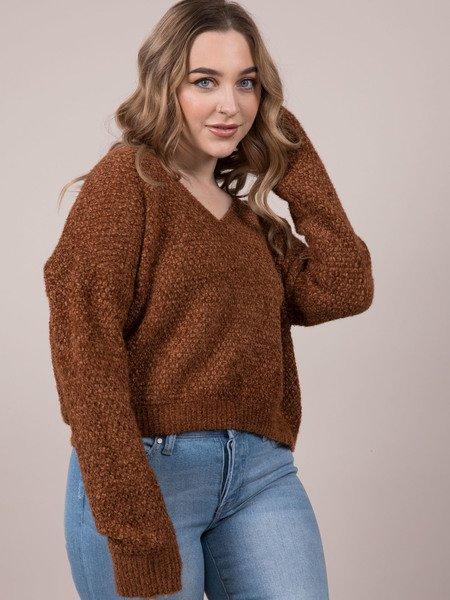 Julie Sweater Soft Knot V Neck Brown
