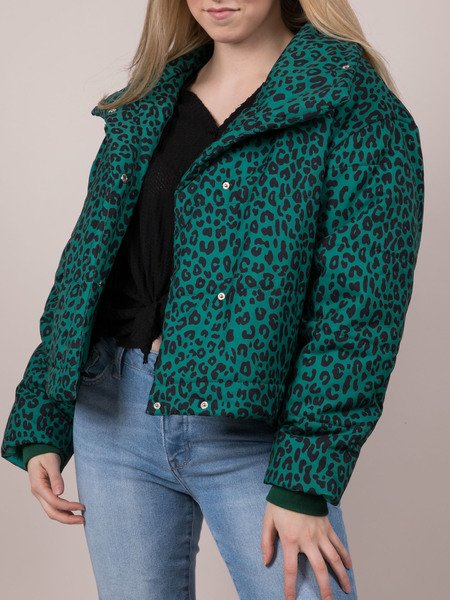 Leopard Puffer Turquoise Winter Pattern Zip Up