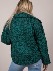 Leopard Puffer Turquoise Winter Pattern Zip Up Back