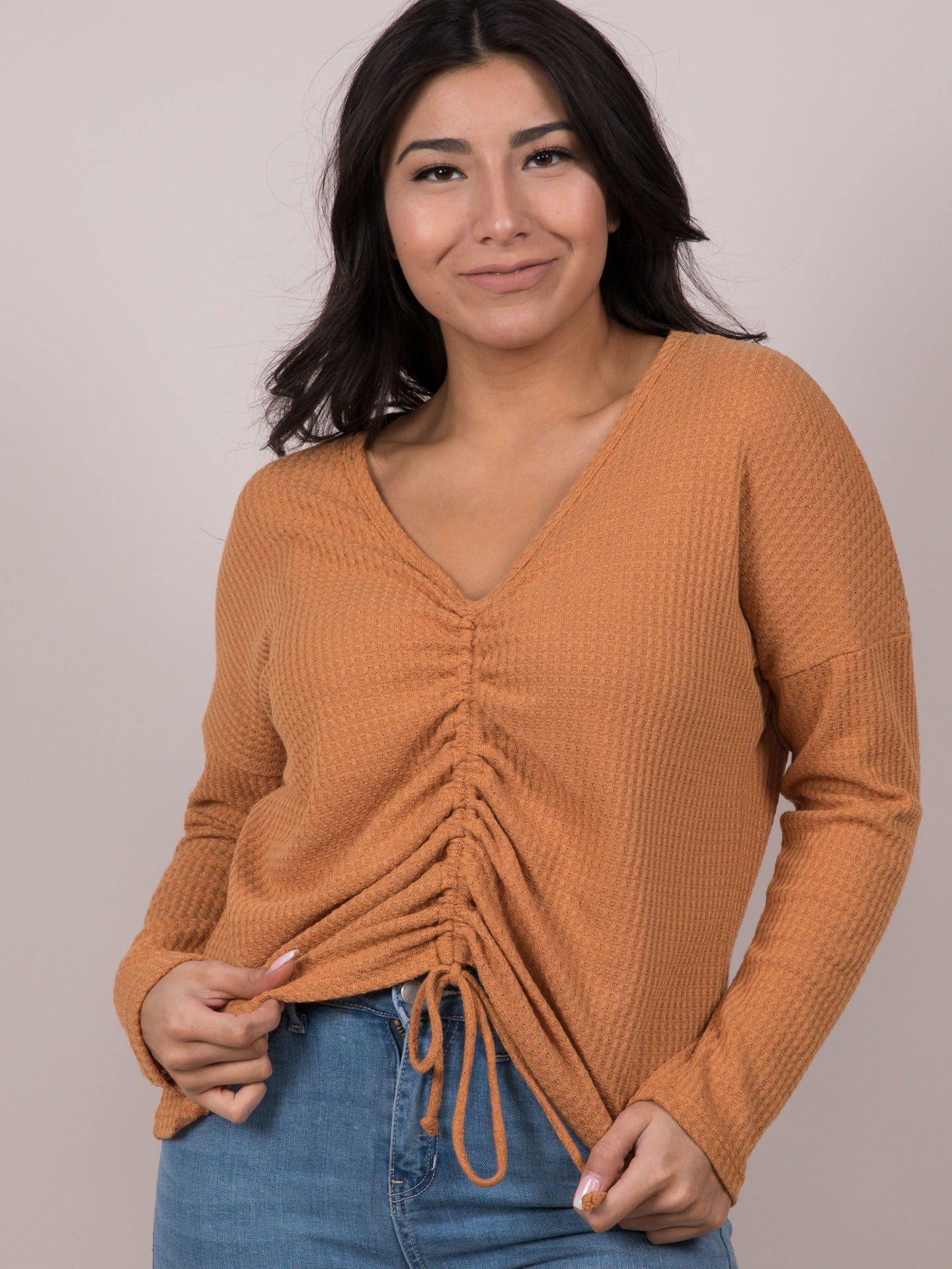 Arya Waffle Top String Cinched Middle Long Sleeve Front