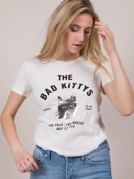 Bad Kitty Tee Front View Silver Cat