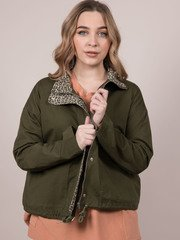 Wendy Jacket Cheetah Lined Olive Front