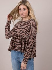 Tiger Soft Top  Peplum Patterned Long Sleeve Front