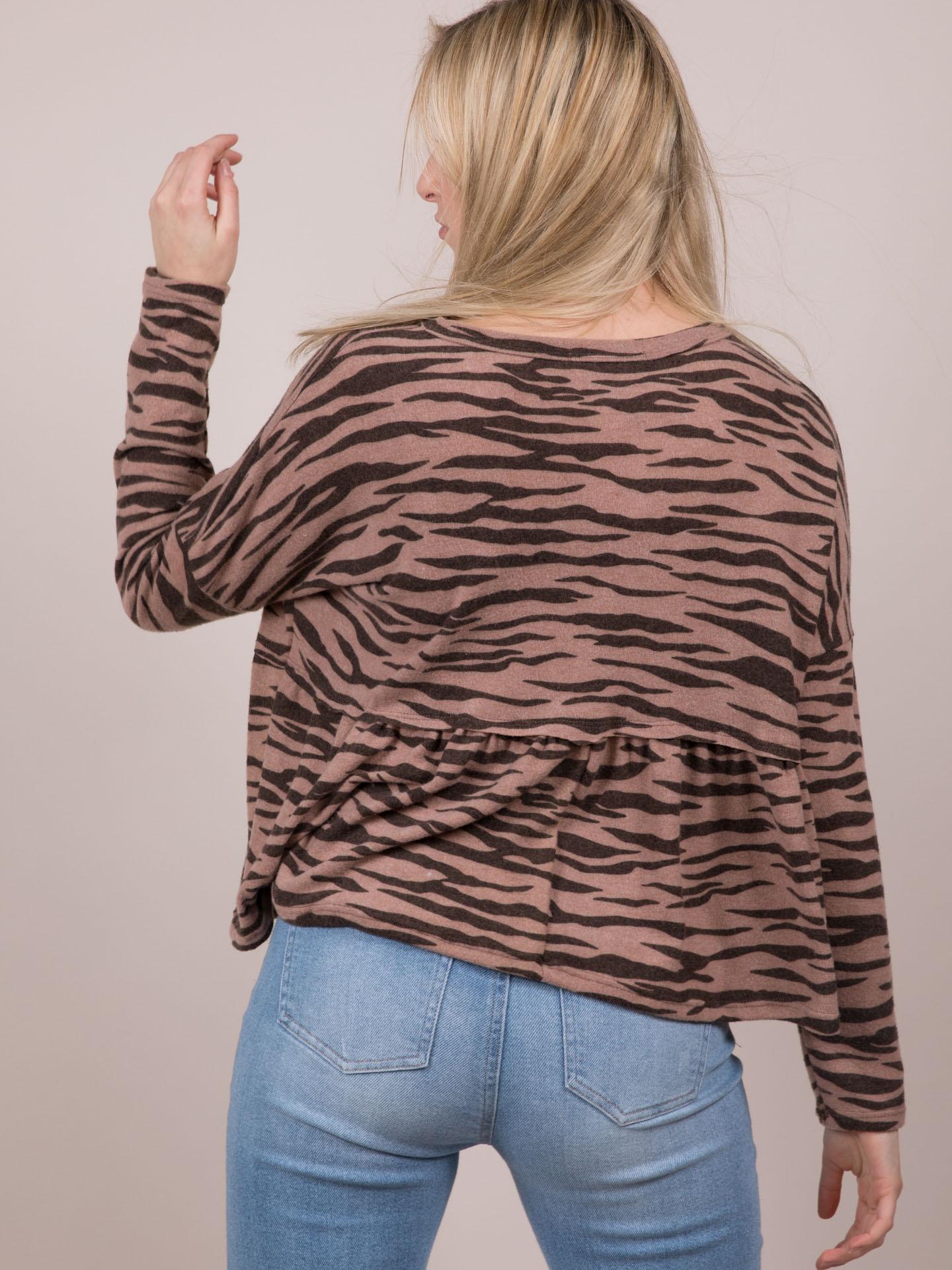 Tiger Soft Top  Peplum Patterned Long Sleeve Back