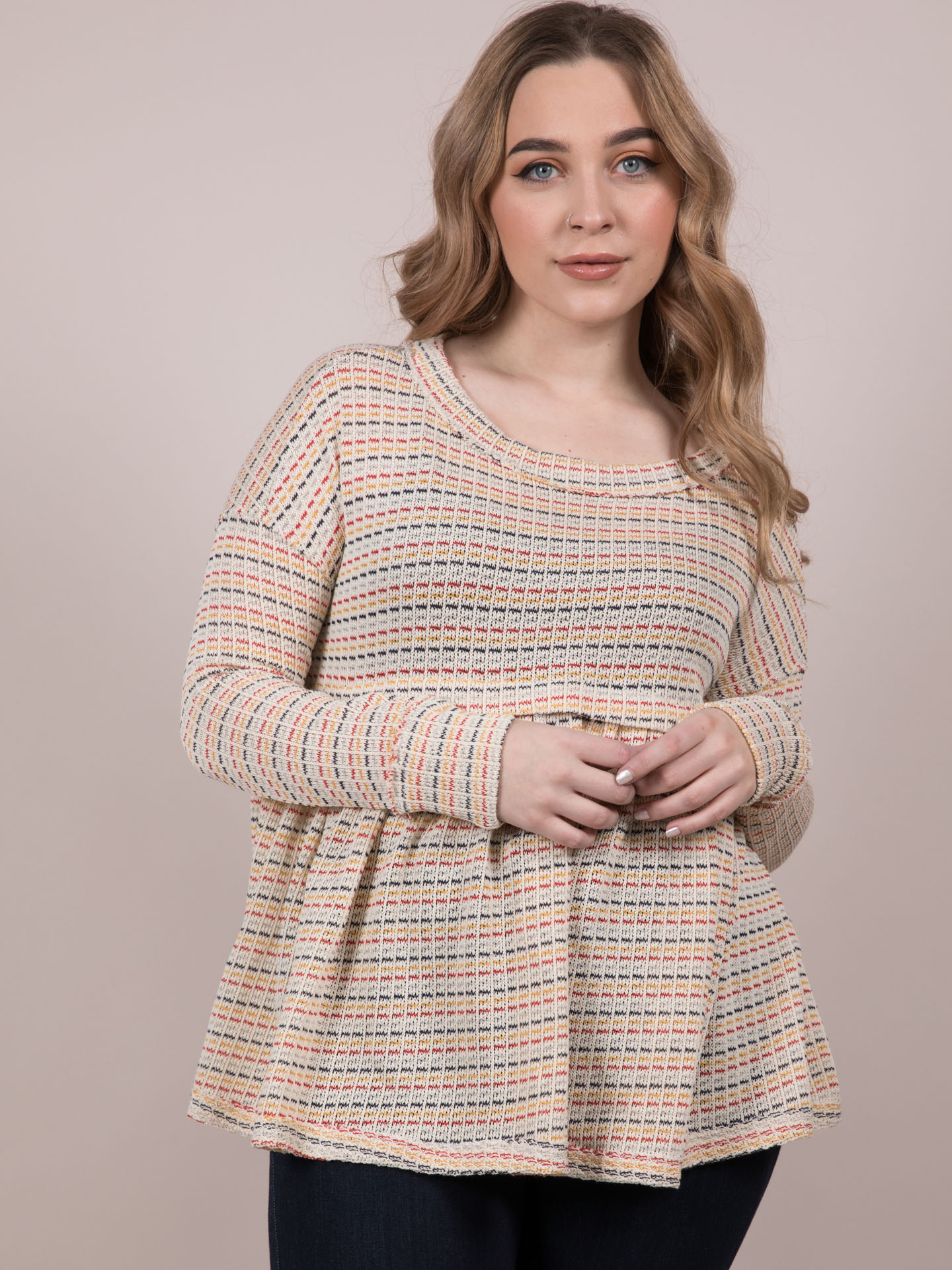 Judith Long Sleeve Relaxed Striped Stitched Peplum