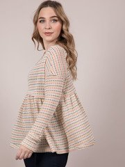 Judith Long Sleeve Relaxed Striped Stitched Peplum Side