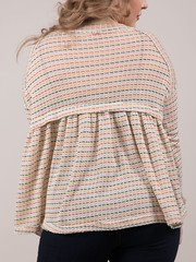 Judith Long Sleeve Relaxed Striped Stitched Peplum Back