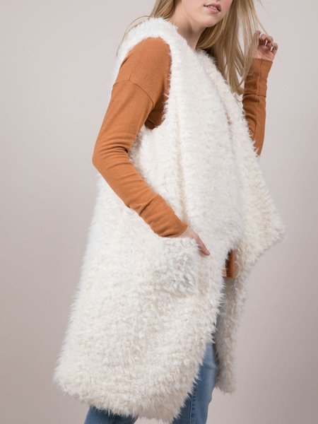 Michelle Vest White asymmetrical Cut Furry Side