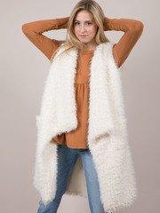 Michelle Vest White asymmetrical Cut Furry Side