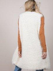 Michelle Vest White asymmetrical Cut Furry