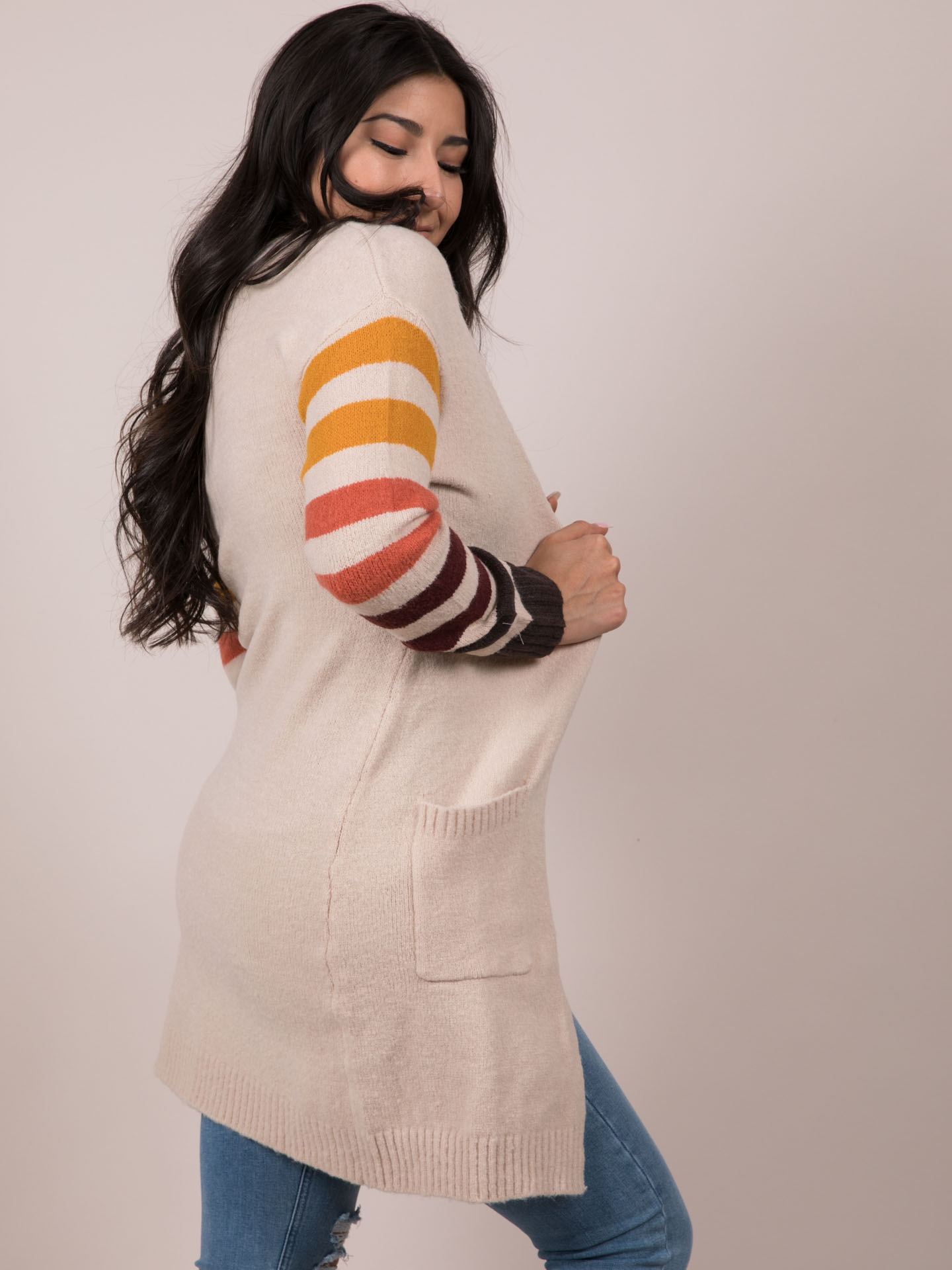 Stripe Sleeve Cardigan