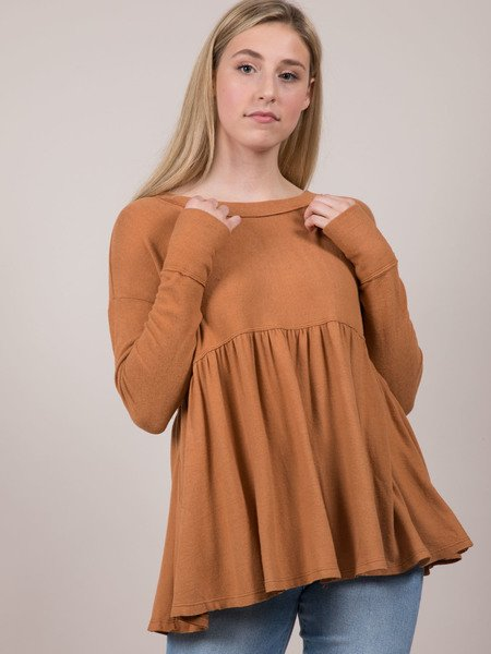 Kiera Babydoll Top Soft Relaxed Long Sleeve