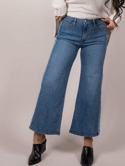 Two Tone Denim Cropped Flare Side Stripe