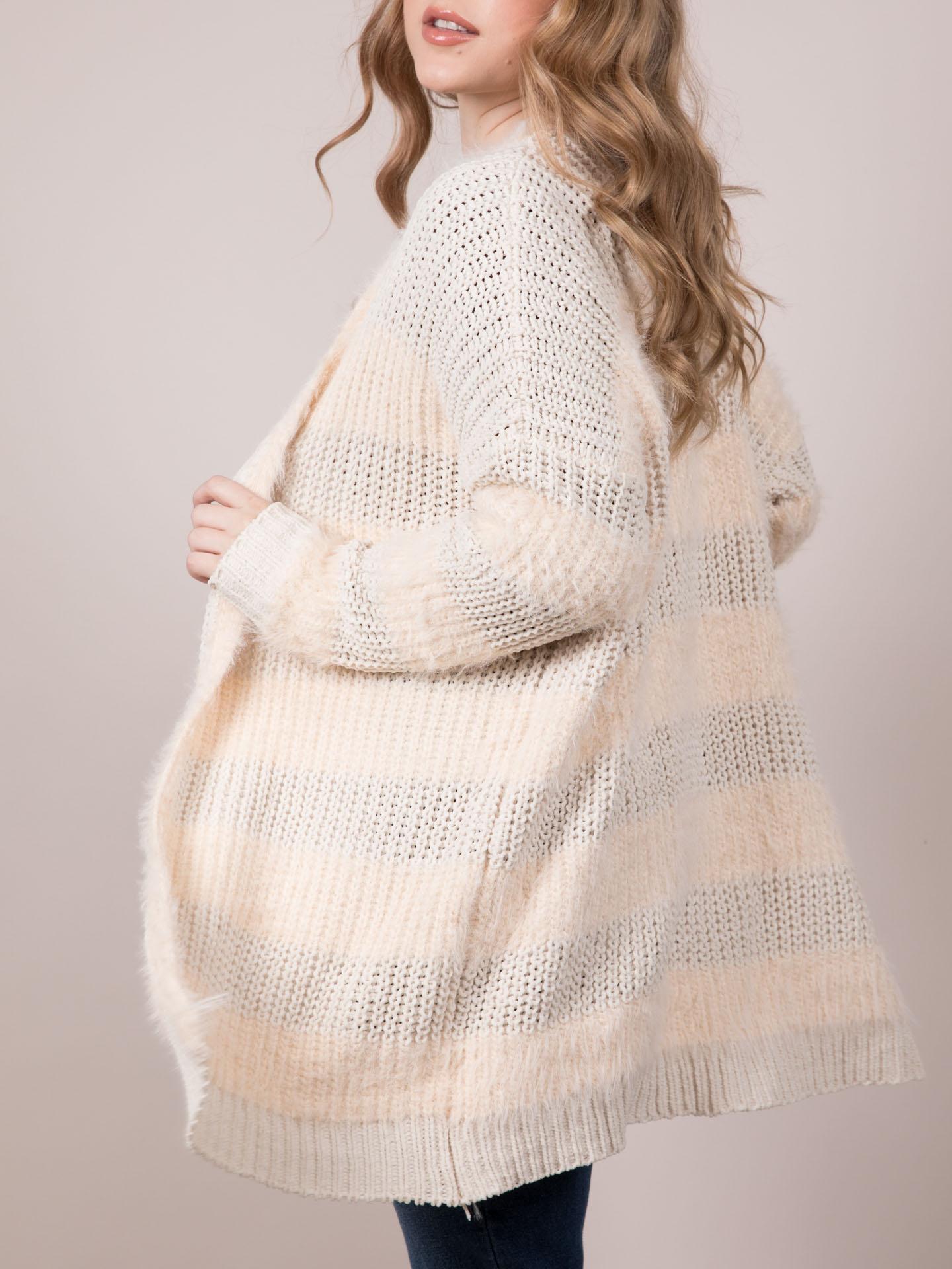 Below Zero Cardigan Fuzzy Knit Long Layer Side