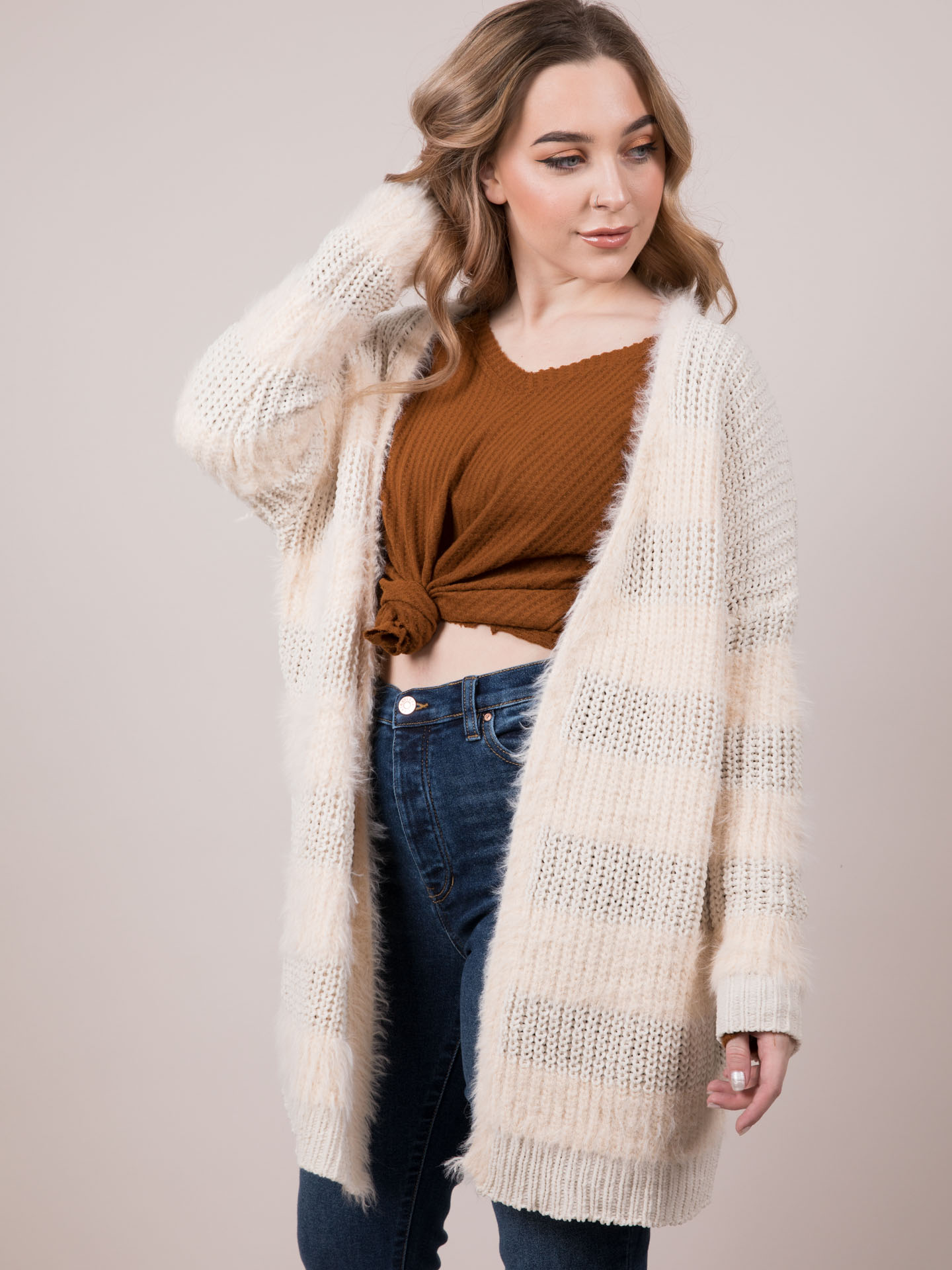 Below Zero Cardigan Fuzzy Knit Long Layer