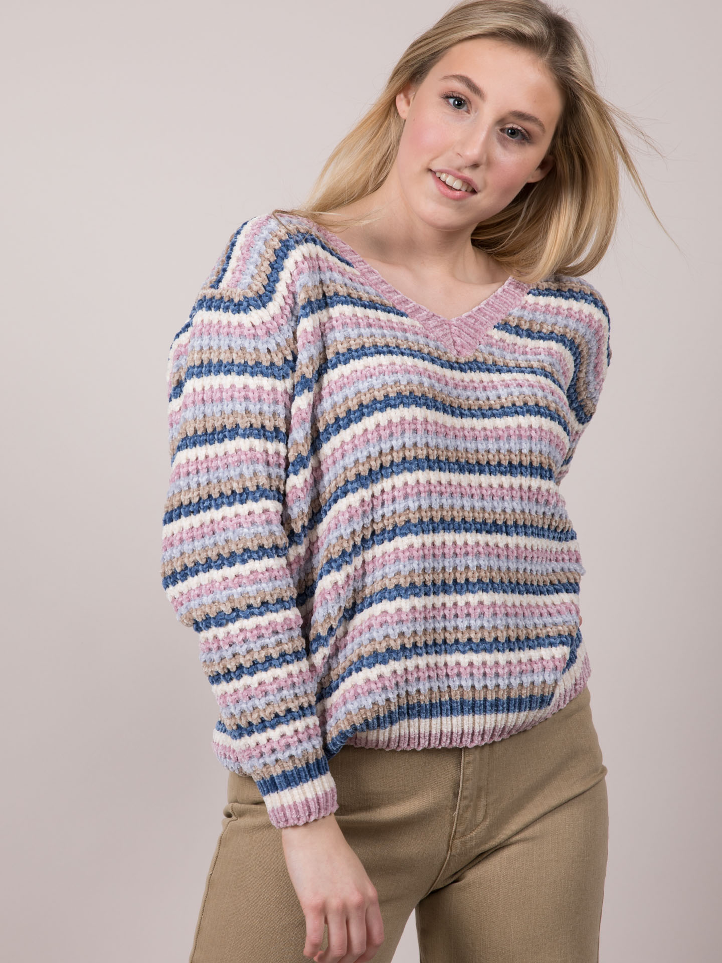 Soft Knit Pastel Striped Carol Sweater