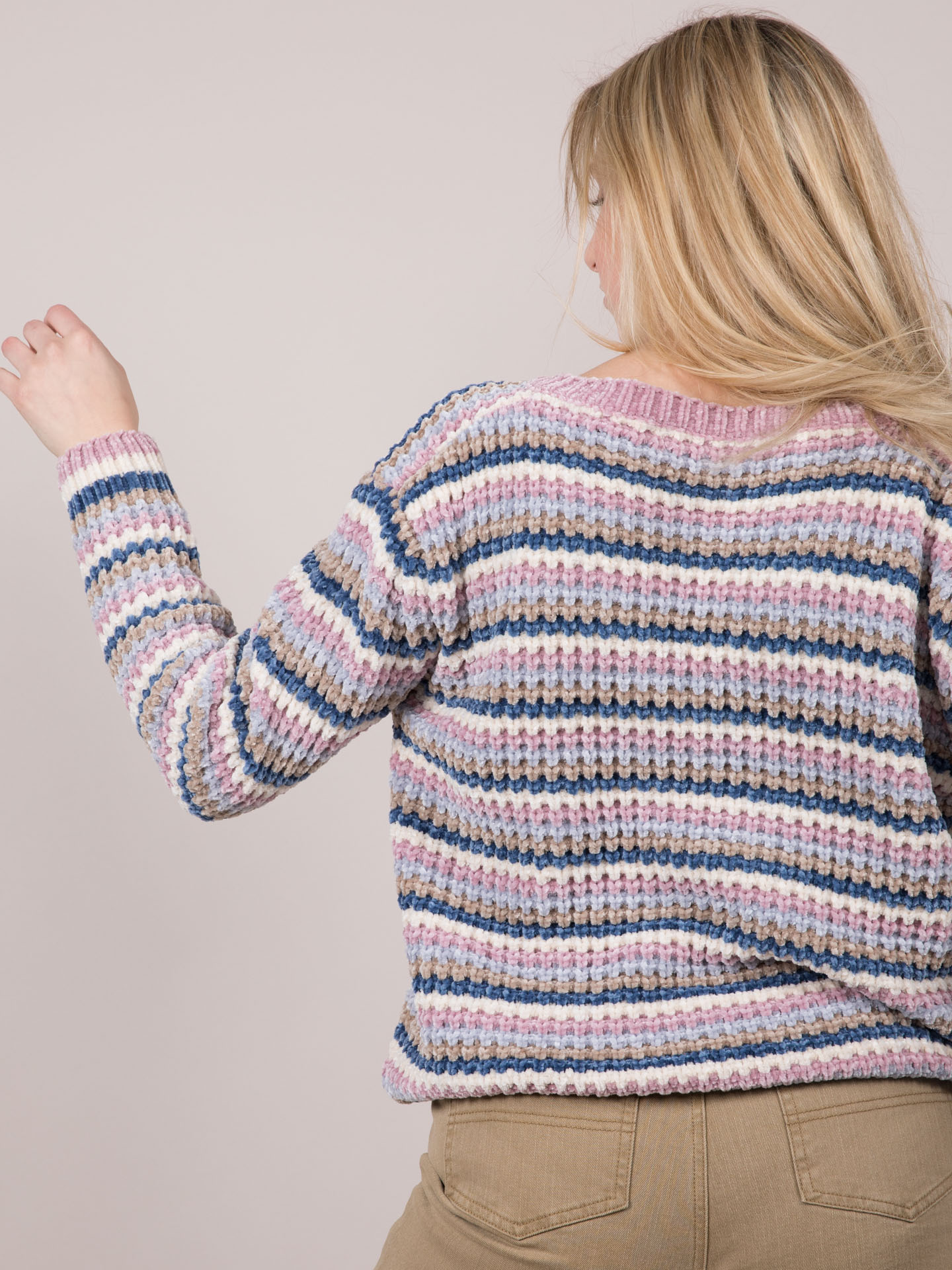 Soft Knit Pastel Striped Carol Sweater Back