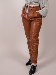 Faux Leather Soft Lining  Caramel Arielle Pants