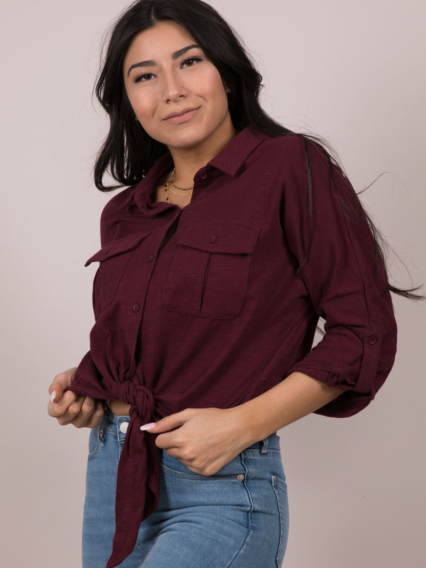 Stacey Top - Burgandy Button Up Side