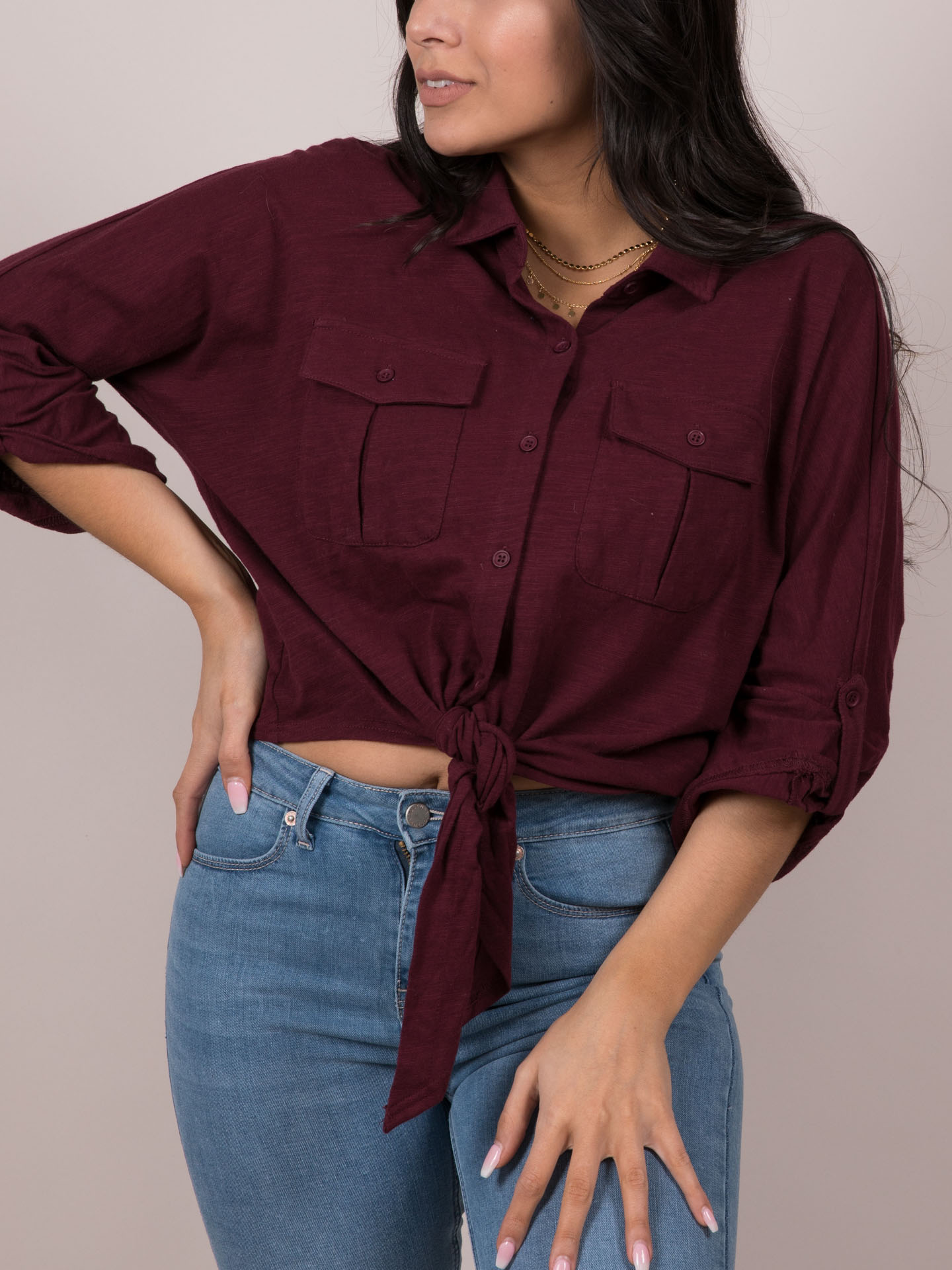 Stacey Top - Burgandy Button Up