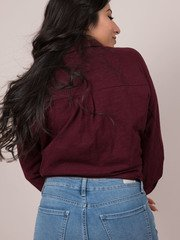 Stacey Top - Burgandy Button Up Back