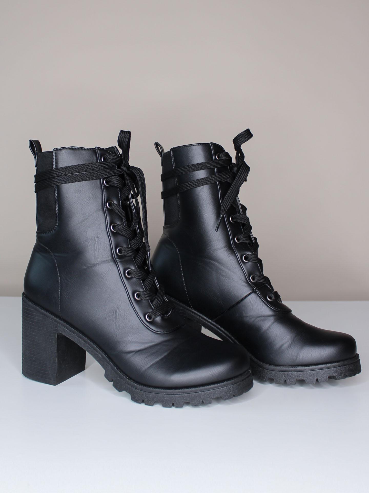 Sorrento Bootie - Combat Black Lace Up Heels