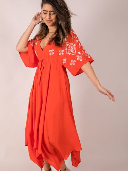 Embroidered Summer Maxi Side Eloise Dress