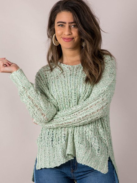 Loose Knit Pullover Light Green Summer Sweater