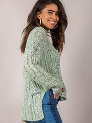 Loose Knit Pullover Light Green Summer Sweater Side