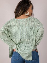 Loose Knit Pullover Light Green Summer Sweater Back