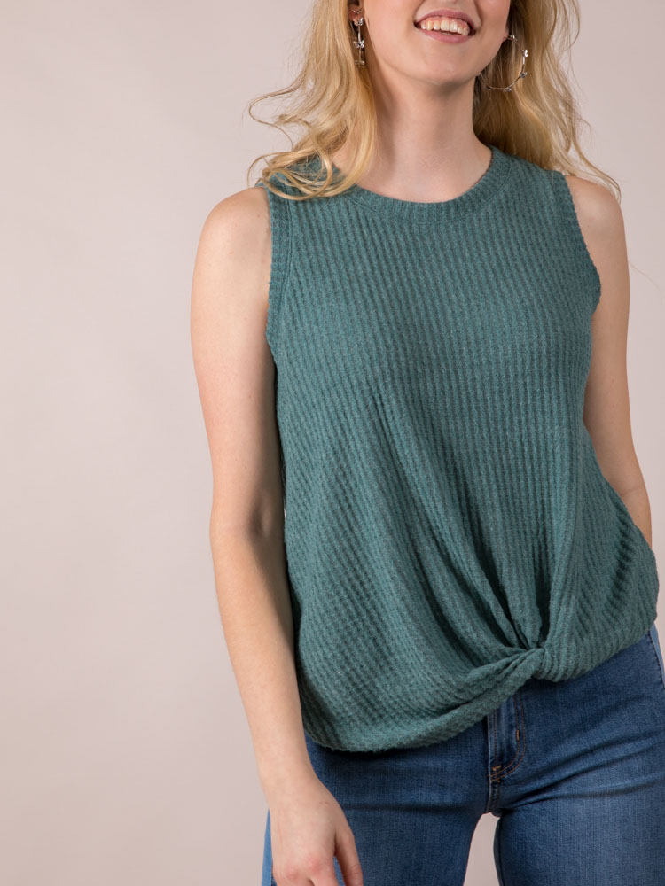 Soft Thick Sleeve Tank Pistachio Gwen Tank Back