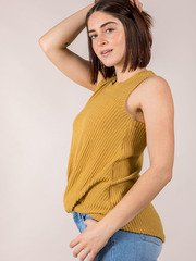 Soft Thick Sleeve Tank Mustard Gwen Tank Side