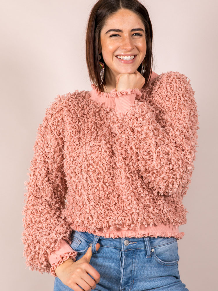 Confetti Popcorn Mock Neck Karea Sweater