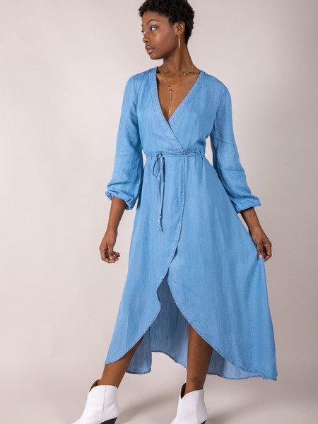 Denim Wrap Maxi Stephanie Dress Front